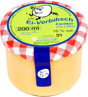 EAN:4949492302215 Eierlikör Ei Verbibsch zum Löffeln 200ml Glas 16% vol.   bei Wellonga 4,50 €