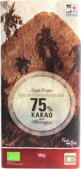 EAN:4260462922135 Edelbitterschokolade 75% Kakao aus Nicaragua 100g   bei Wellonga 3,49 €