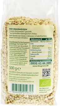 EAN:4306205019325 Bio Buchweizen 500g   bei Wellonga 1,99 €