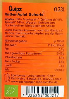 EAN:4026259000215 QUIPZ Quitte Apfel 0,33l   bei Wellonga 1,19 €