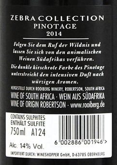 EAN:6002886001946 Zebra Pinotage Trocken Südafrika 0,75l   bei Wellonga 5,29 €
