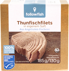 EAN:4250073450639, Followfish, Thunfischfilet Natur 185g  bei Wellonga 2,99 €